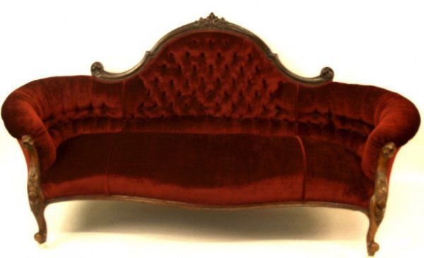 446: AMERICAN ANTIQUE VICTORIAN SOFA NEW UPHOLSTERY