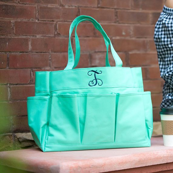 PERSONALIZED MONOGRAMMED TEACHER DIAPER BAG GARDEN MARKET TOTE w LOTS of POCKETS