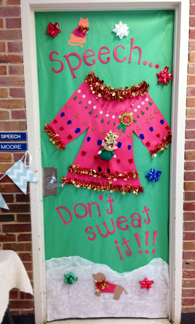 door decorating contest inspired by the ugly sweater contest i won