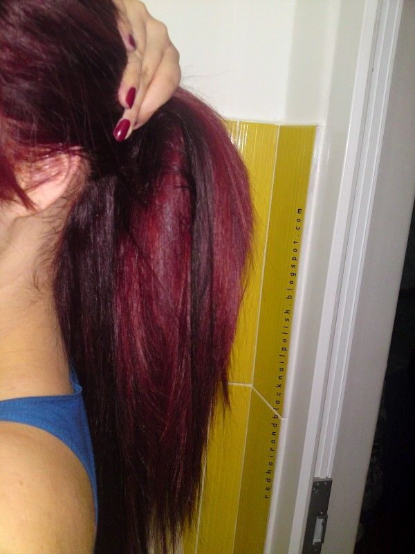black hair with red highlights tumblr cherry coke