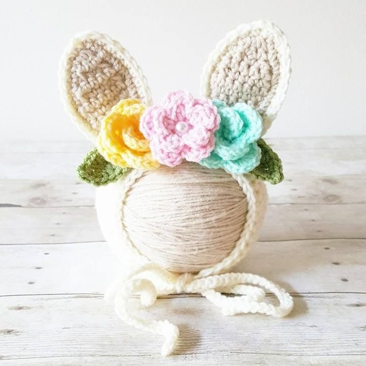 7a217bcd3fcd0 Crochet Baby Bunny Rabbit Flower Bonnet Hat Beanie Infant Newborn Baby  Easter Spring Handmade Photography Photo Prop Baby Shower Gift Present
