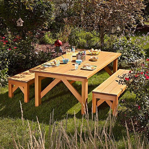 Basic Joinery Ensures That You Can Build This Heavy Duty Outdoor Table And  Benches With