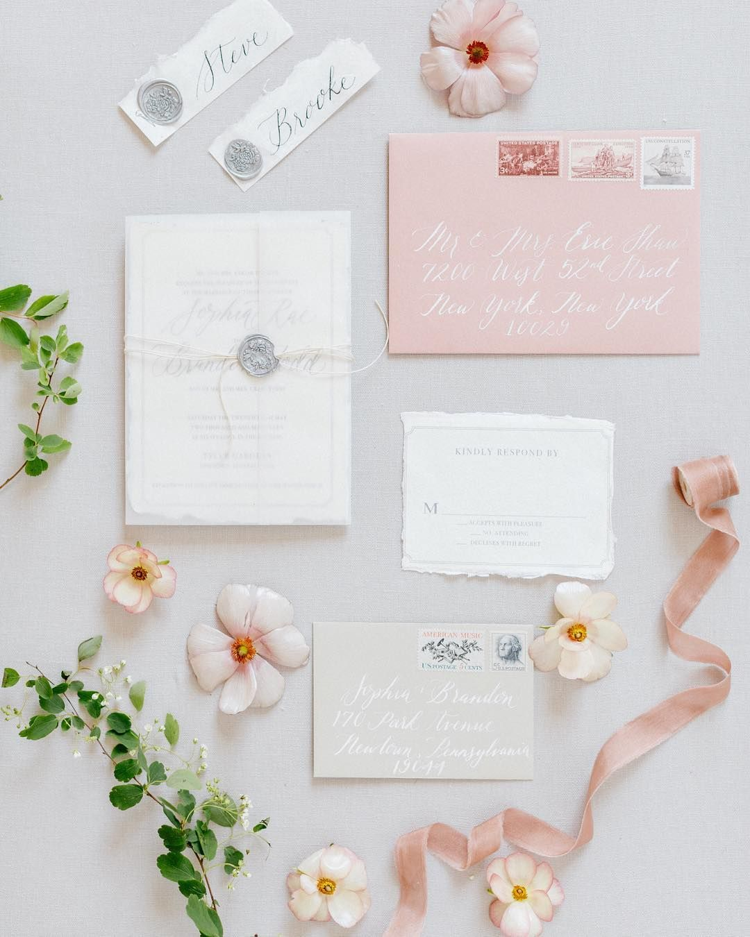 Light Pink Wedding Invitations Envelope Calligraphy Vintage