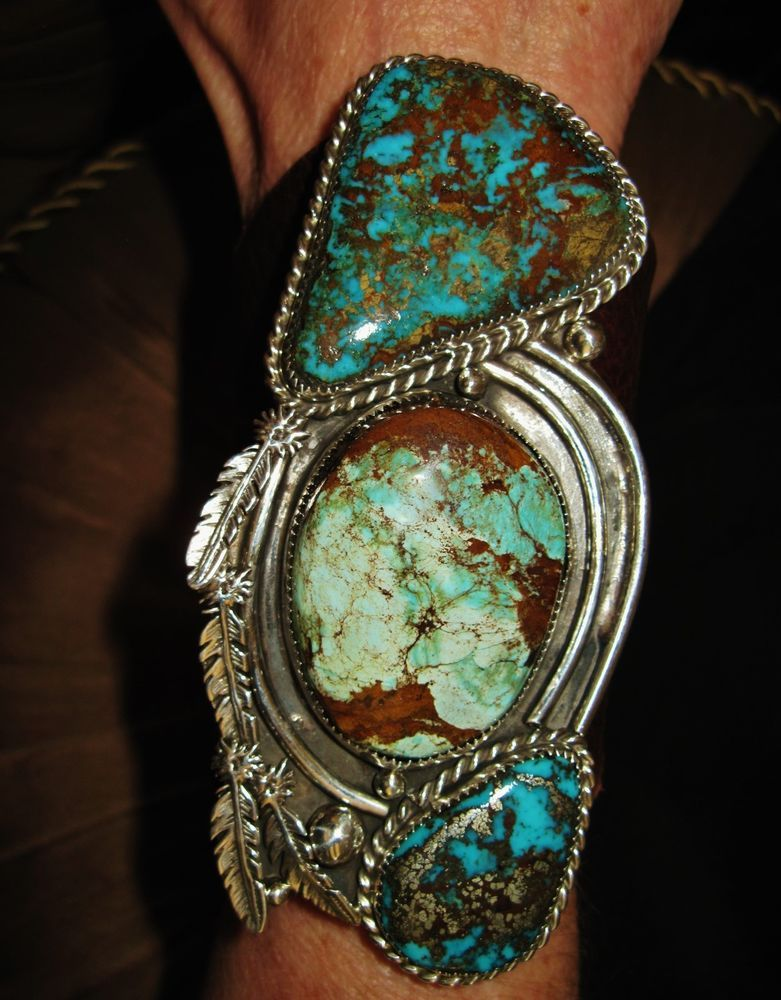 """NATIVE AMERICAN TURQUOISE LEATHER BRACELET,125g Sterling Silver CHAVEZ 4.5"""" wide #CHAVEZNAVAJO"""