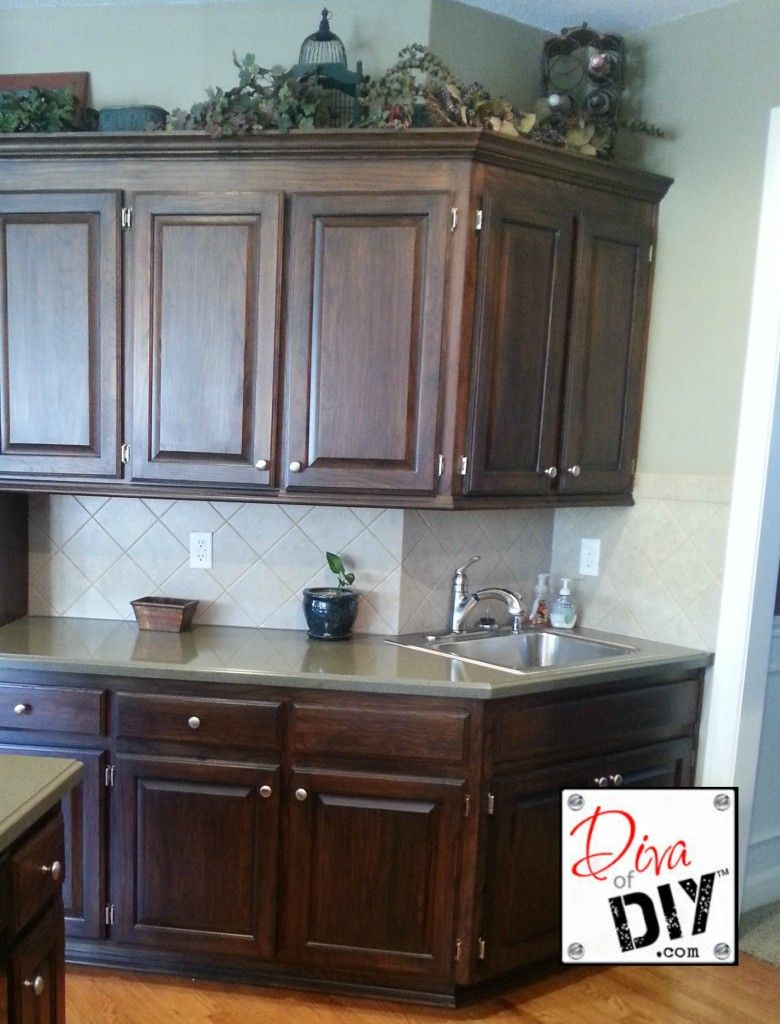Staining builder grade cabinets - Builder grade oak kitchen cabinets ...