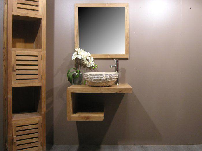 Colonne en teck u003e Colonne salle de bain en teck Nature 2m Idee - teck salle de bain sol
