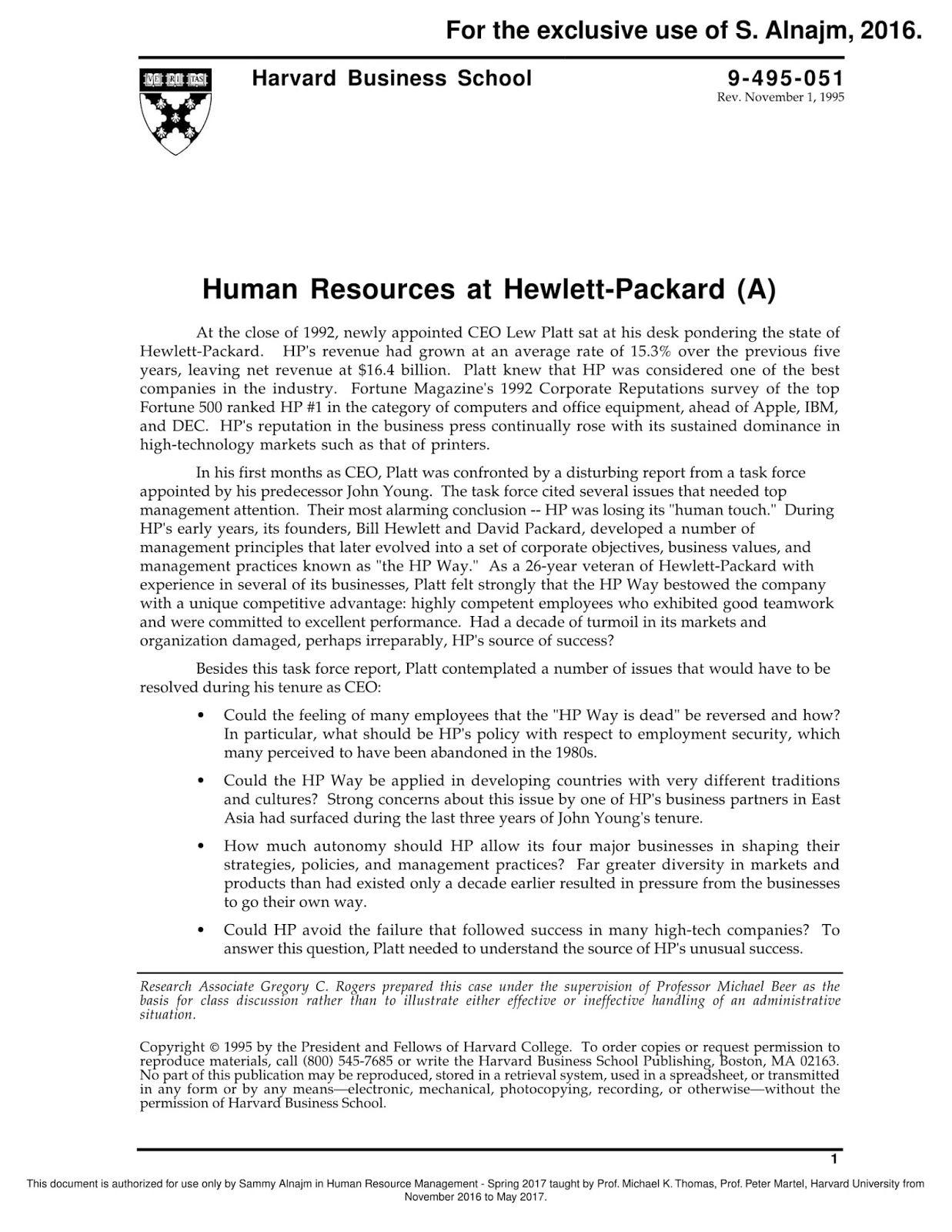 Hewlett Packard Case Sample  Case Study Sample Paper  Hewlett