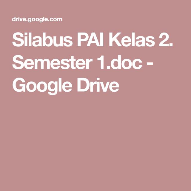 Silabus Pai Kelas 2 Semester 1 Doc Google Drive