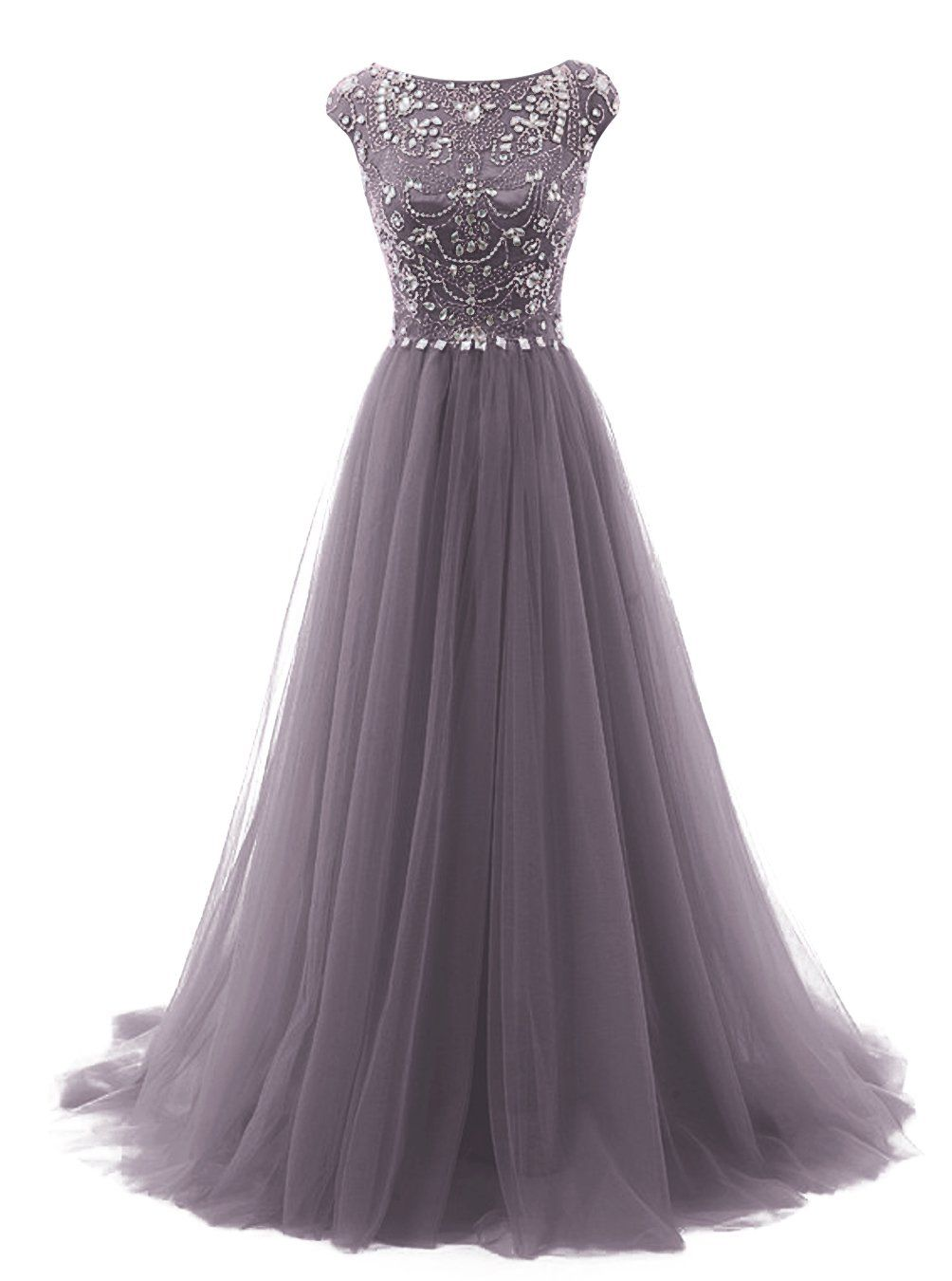 Tideclothes long beads prom dress tulle cap sleeves evening dress at