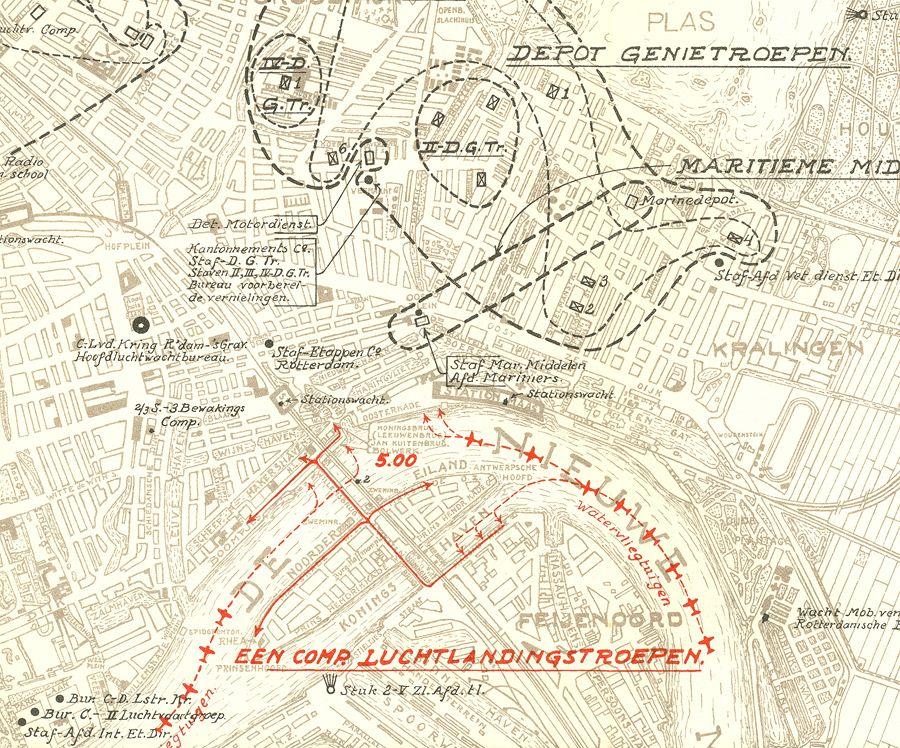 kaart landing bij Maasbruggen