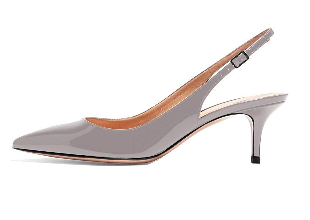 96aead13e62 Eldof Women s Patent Leather Pointed Toe Slingback Ankle Strap ...