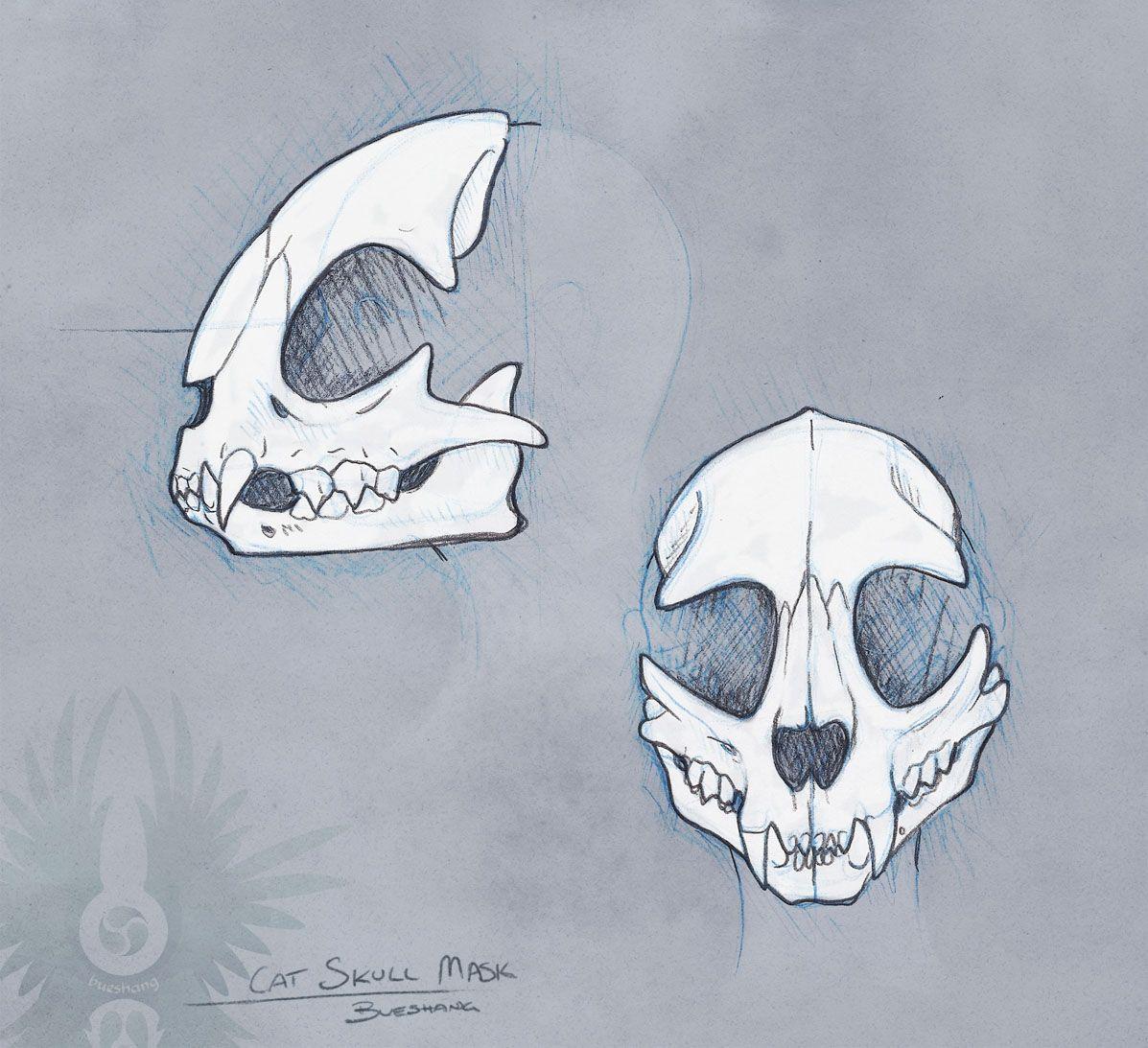 Sketch Cat Skull Mask By Bueshang D6xf47i Jpg 1197 1093 Cat Skull Mask Drawing Skull Mask