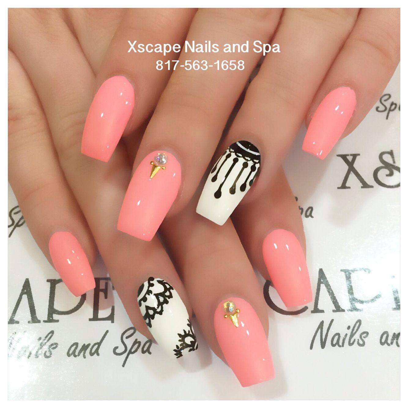 Coral coffin nails | Cute Nails Designs | Pinterest | Glänzend und ...