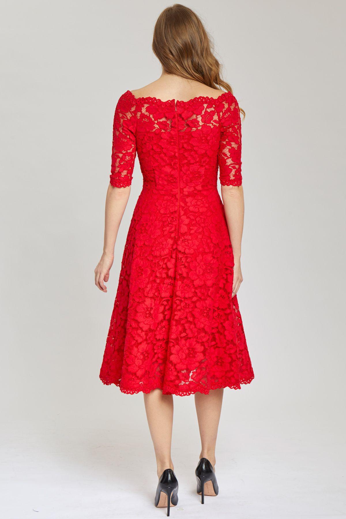 3 4 Sleeve Off The Shoulder Fit And Flare Tea Length Lace Dress Teri Jon Lace Tea Length Dress Dresses Lace Dress [ 1800 x 1200 Pixel ]
