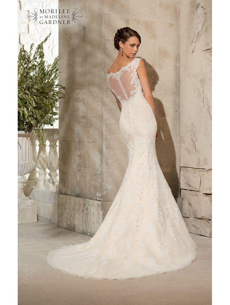 Mori lee mori lee 5316 ivory silver lace fishtail wedding for Fishtail wedding dress