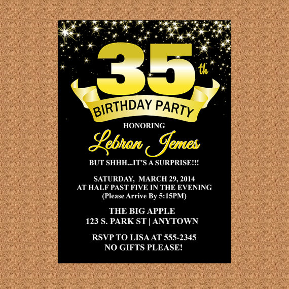 35th Birthday Invitation Black And Gold Milestone