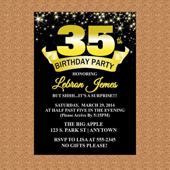 35th Birthday Invitation Black And Gold By Adtrcustomdesigns
