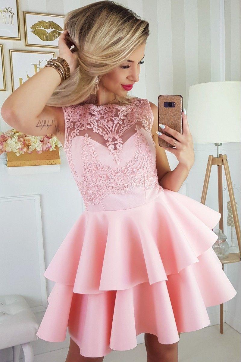 Sukienka Rozkloszowana Koronkowa Gorsetowa Rozowa Z Falbankami Pretty Dresses Womens Dresses Dresses