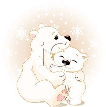 polar bear clip art | Polar Bear Mother Hugging Her Baby