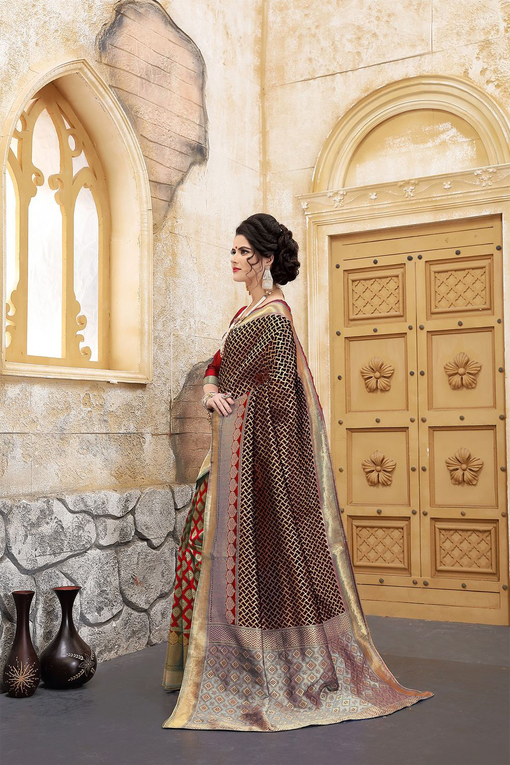 New Arrivals Check Out The Red Black Banarasi Silk Traditional Saree At Nihalfashions Discount F Indian Outfits Traditional Sarees Indian Wedding Dress