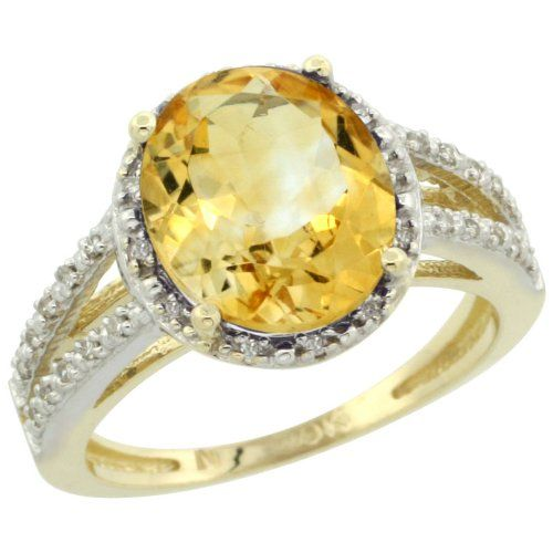 New Ring Oval Cut Halo Citrine Engagement