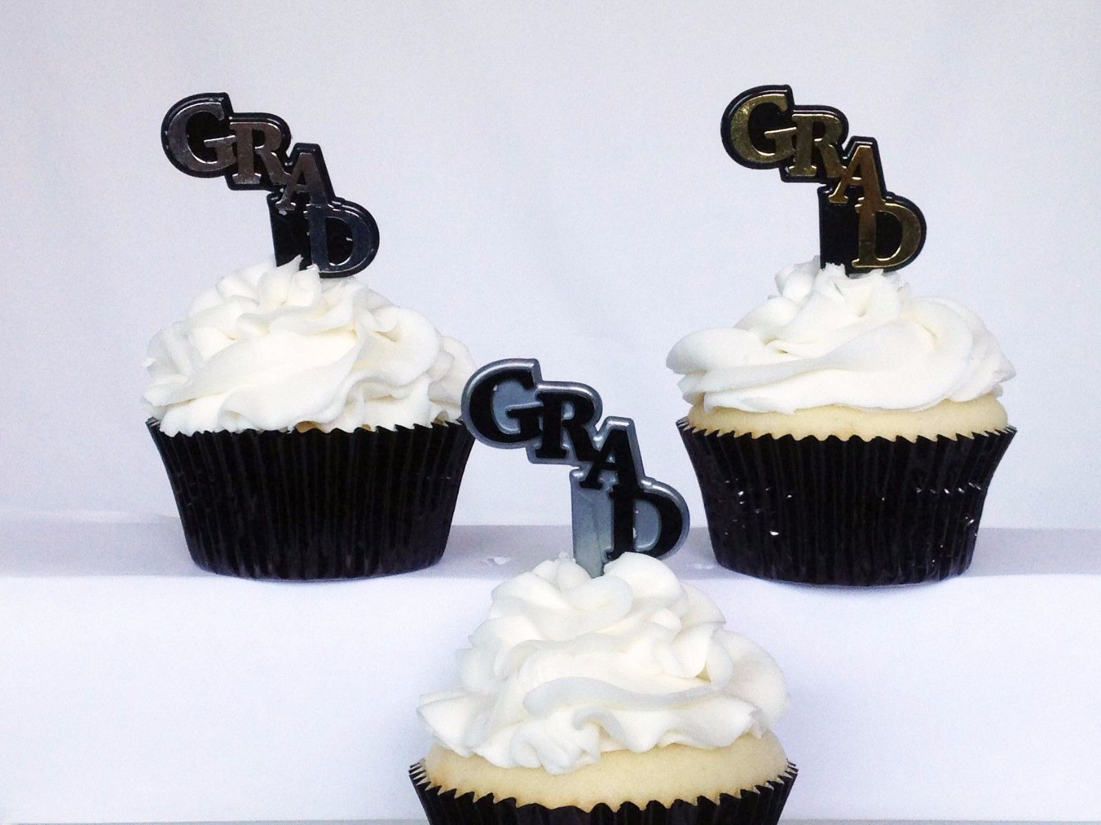12 Grad Graduation Black Silver Gold Picks Cupcake Toppers