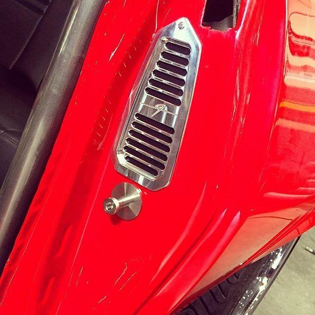 Fesler billet striker bolt and door jamb vent on the 1969 Camaro