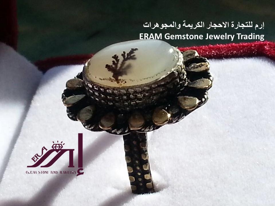 خاتم عقيق ابيض مشجر نادر طبيعي 100 Agate Gemstone Jewelry Gemstones Crochet Hats