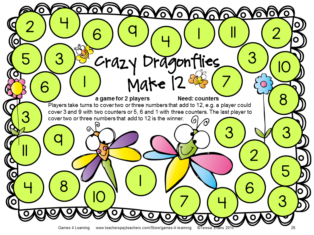 Insect Friends Addition Games For Fact Fluency