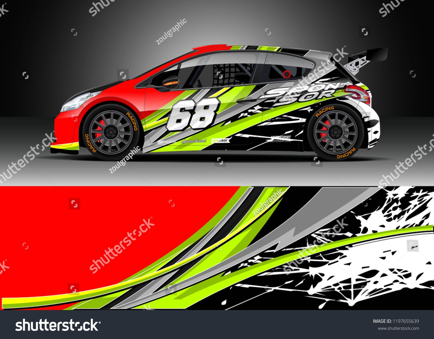 Graphic abstract stripe racing background kit designs for wrap vehicle race car rally adventure and livery