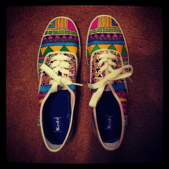 Tribal Aztec Keds Or VANS Women's Shoes - Canvas Shoes Size 5 6 7 ...