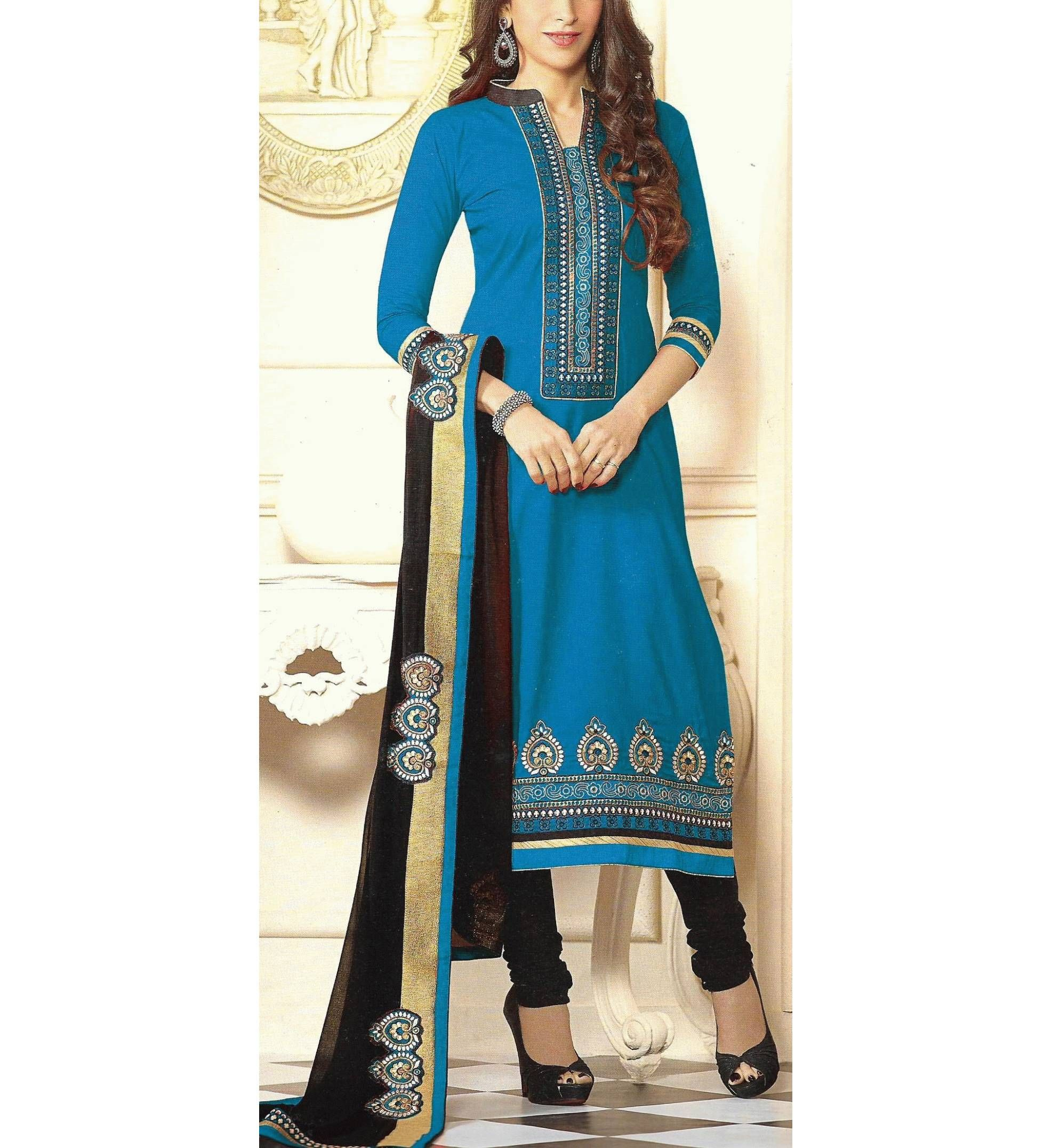 ANKAN Fashions Blue & Black Embroided Patch work Party & Festive ...