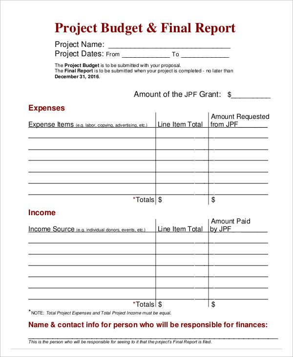 Final Project Budget Report , Budget Report Template , budget - detailed expense report template