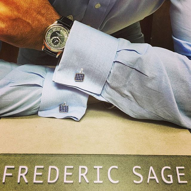 Beautiful #FredericSage #sapphire #cufflinks with  a #patekphilippe #watch.  #blingbling #jewelry #mens #diamond #luxury #gems