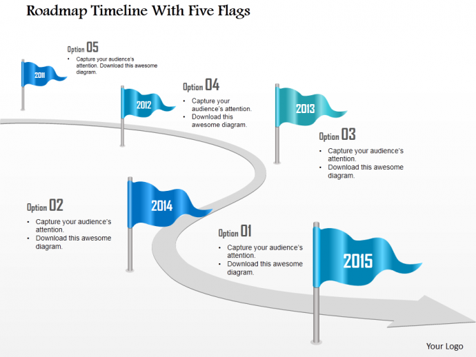 Roadmap Timeline With Five Flags Powerpoint Template  Places To