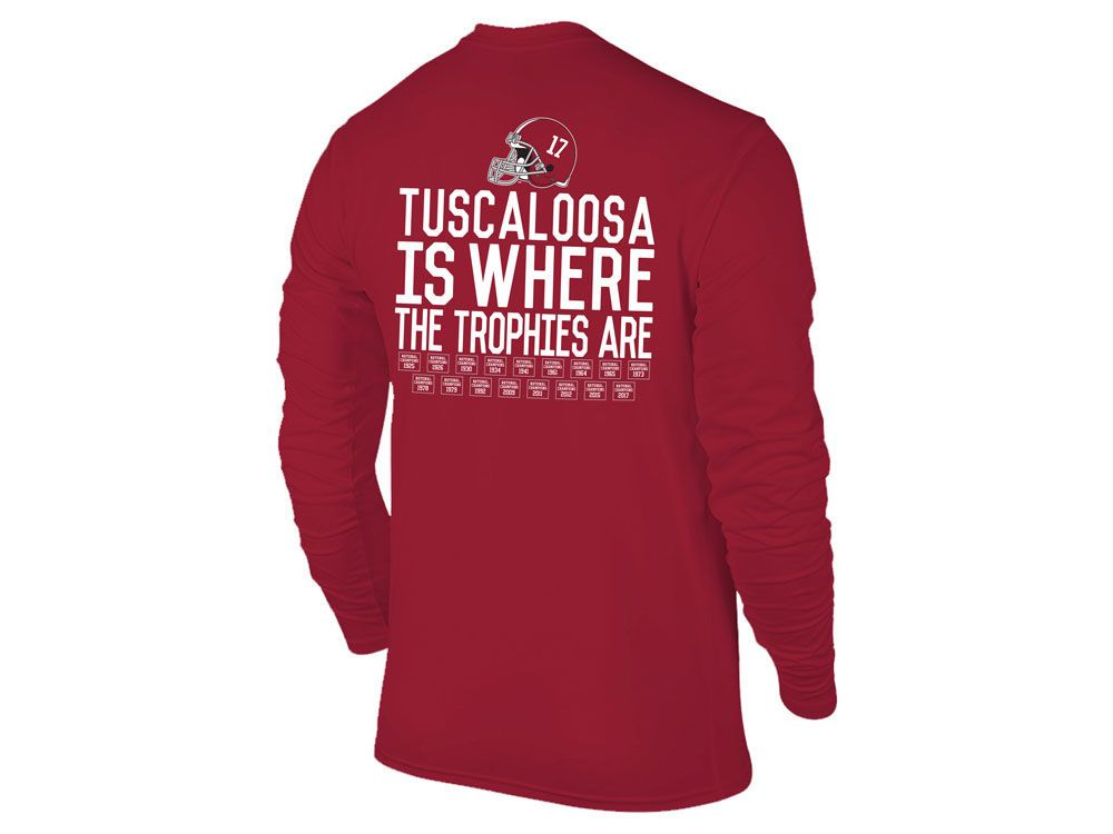 ffe55e42 Alabama Crimson Tide NCAA Men's Where The Trophies Are Long Sleeve T-Shirt