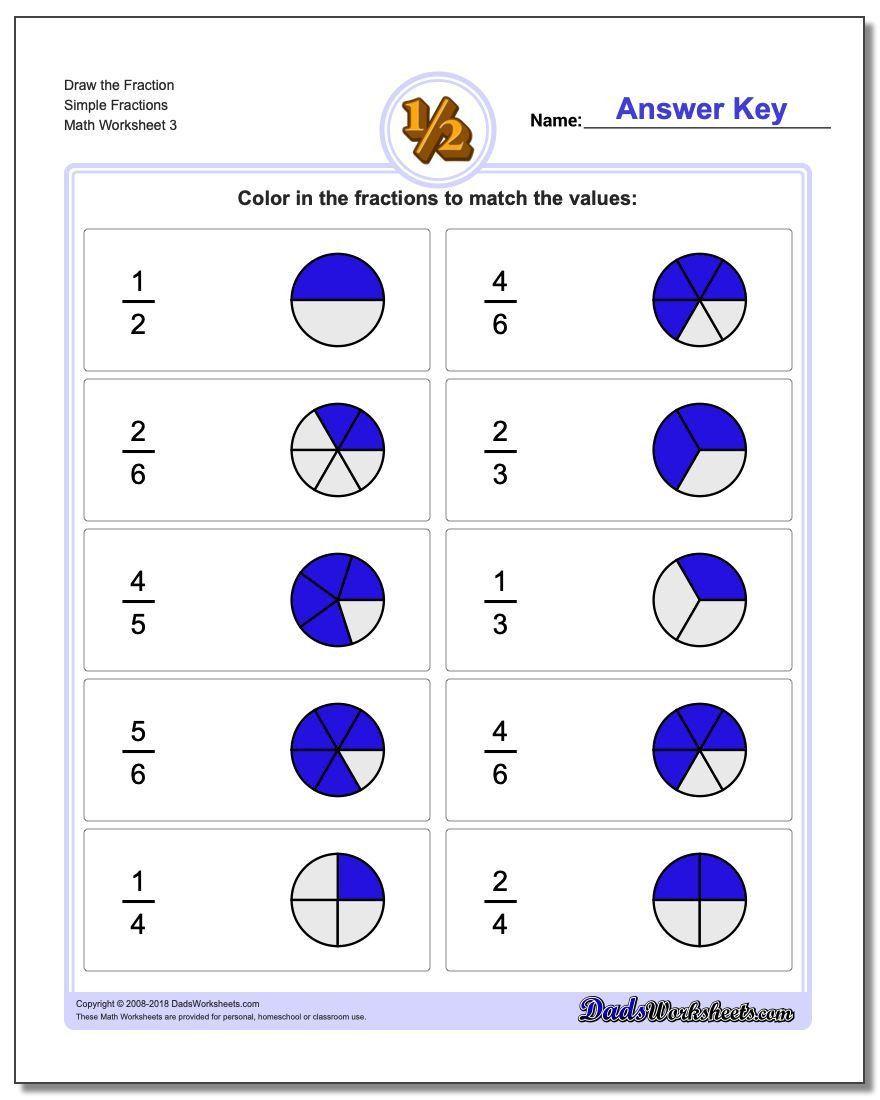 Fraction Worksheets For 1st Grade Simple Fractions Fractions Worksheets Fractions [ 1100 x 880 Pixel ]