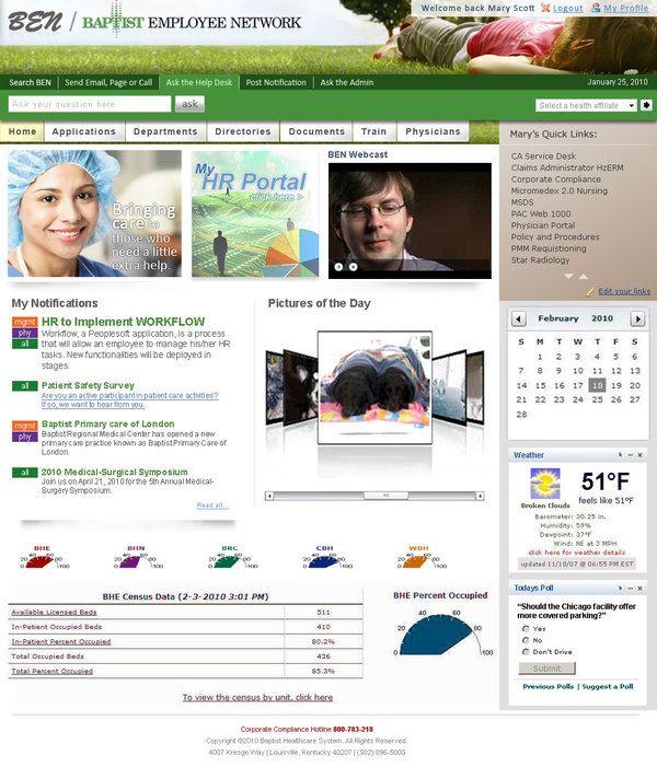 Baptist Employee Network Intranet Portal By Adam Doti Via Behance