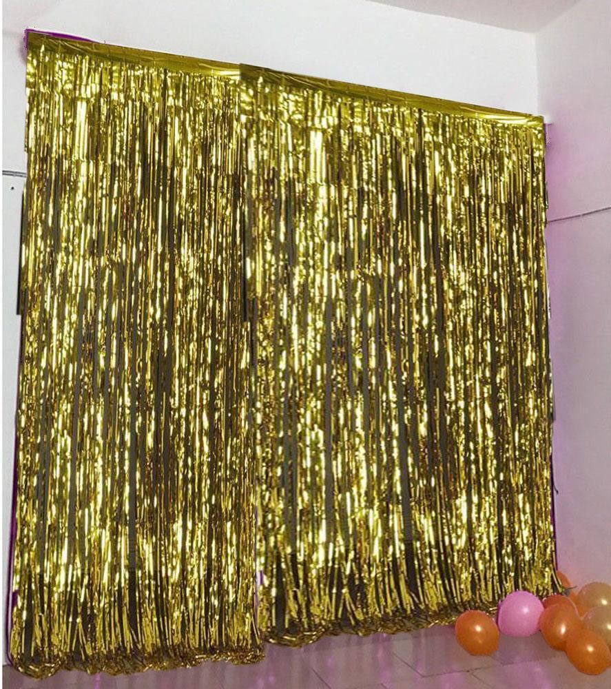Sparkling Metallic Foil Fringe Curtain 3ft X 8ft Gold Curtain