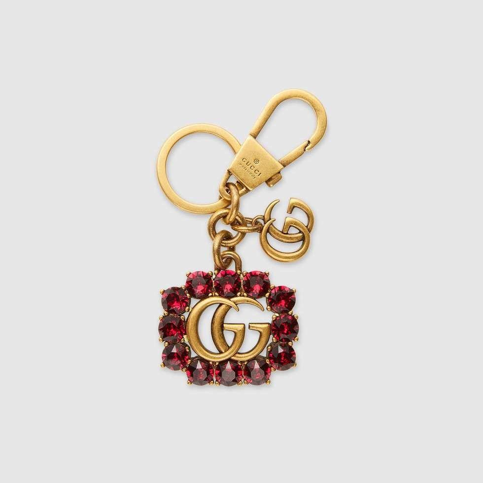 Gucci Metal Double G with crystals keychain...  454aeeeec