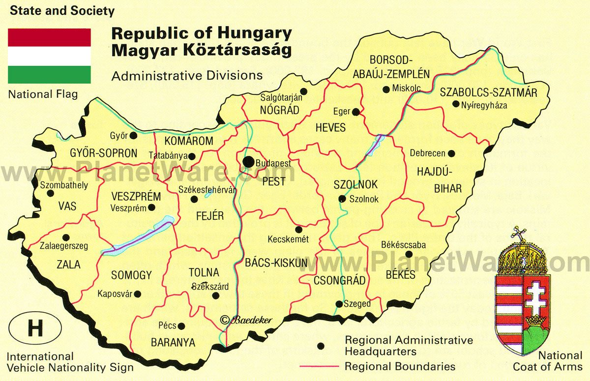 hungary Map of Hungary Administrative Divisions PlanetWare