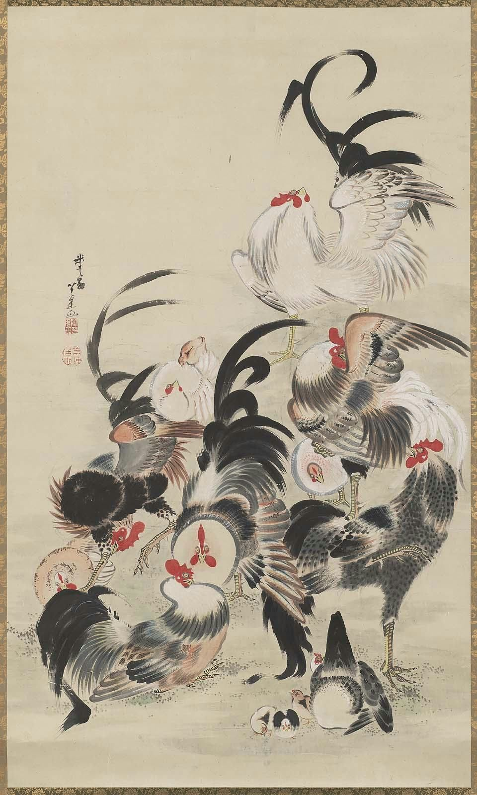 Fowl 群鶏図 Japanese, Edo period, late 18th century Formerly attributed to Itô Jakuchû, Japanese, 1716–1800