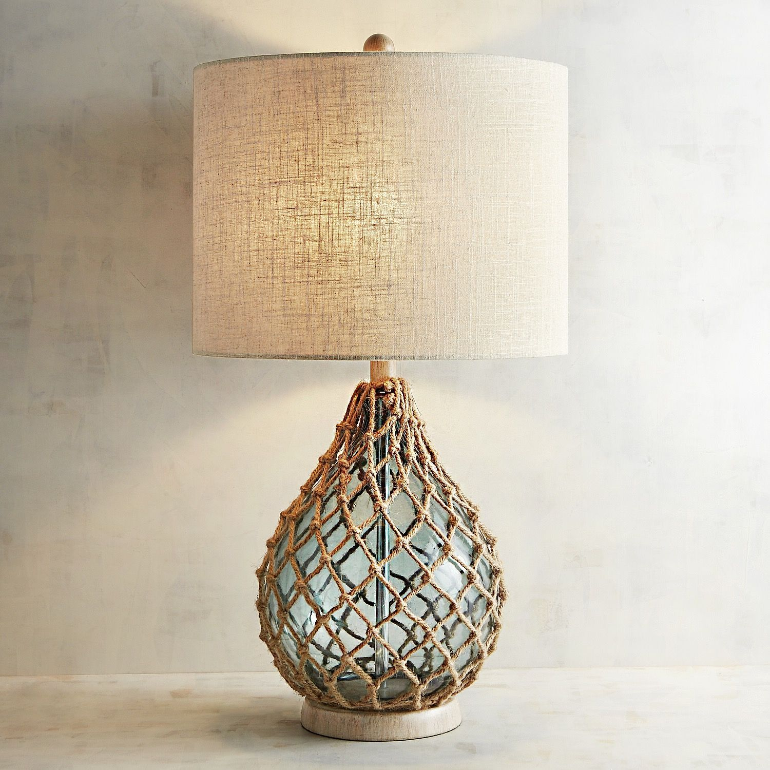 Rope And Sea Glass Table Lamp Green