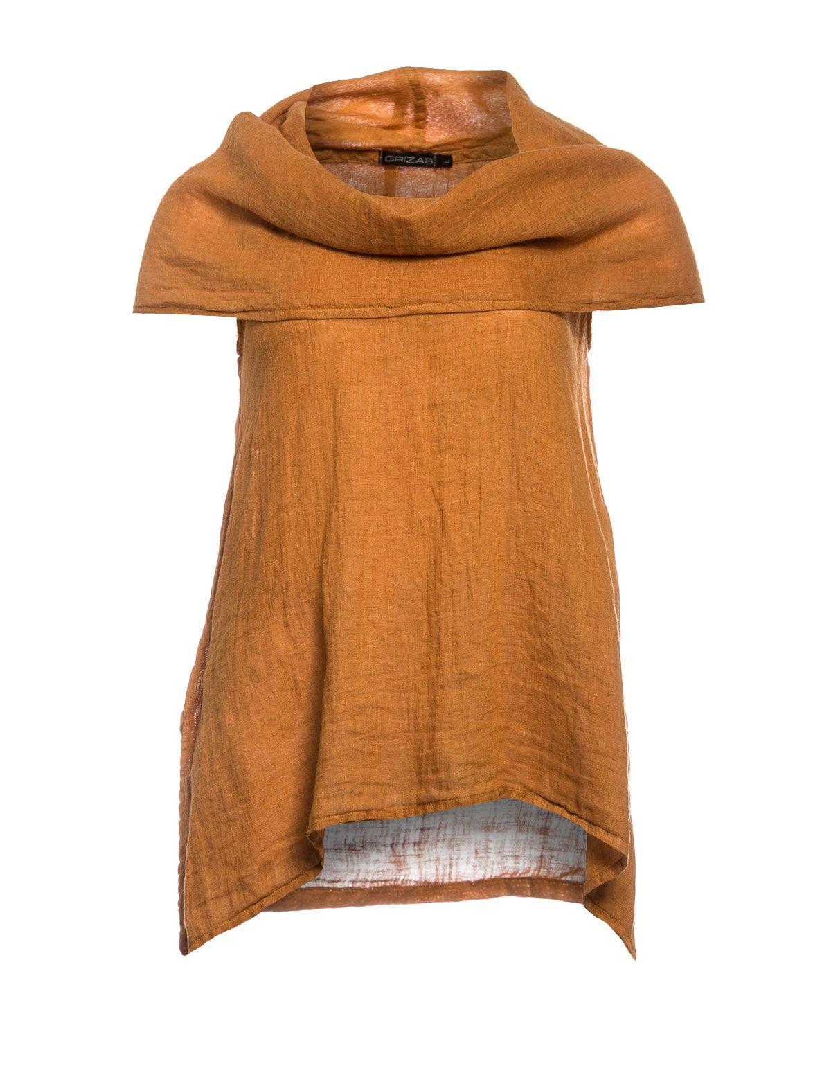GRIZAS - Leinenshirt mit Carmenkragen - navabi