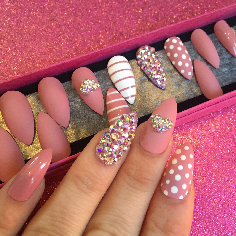 Impress press on manicure nails my style pinterest - Press On False Nails By Nail It Uk Dusky Pink In Stiletto Shape With Matte