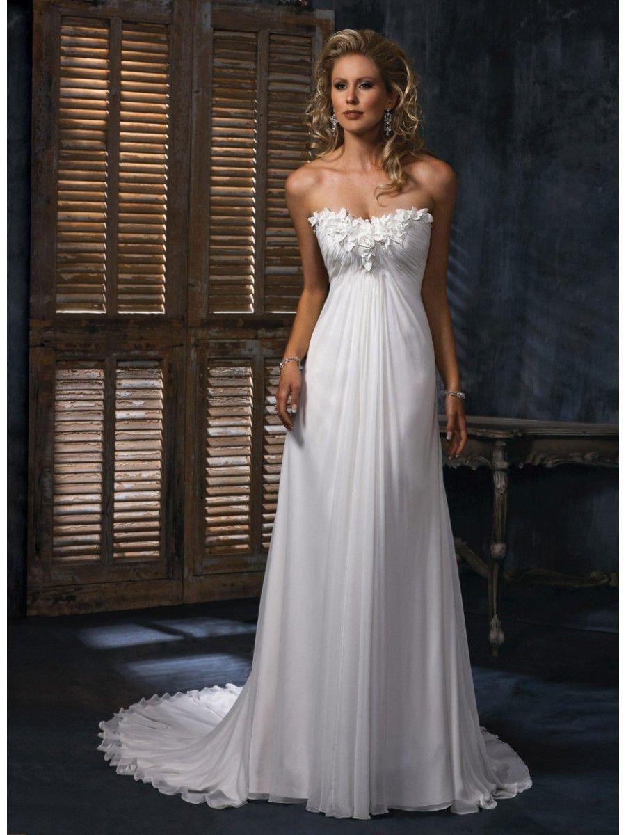 Modest empire strapless court train ivory chiffon wedding dress