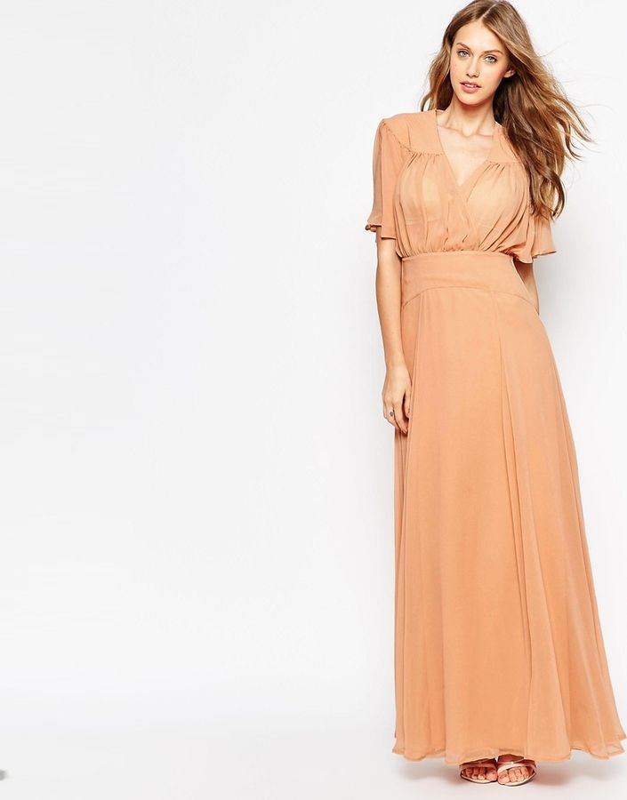 301c8bc3f64b ASOS COLLECTION ASOS WEDDING Maxi Dress with Stitch Shoulder Detail ...