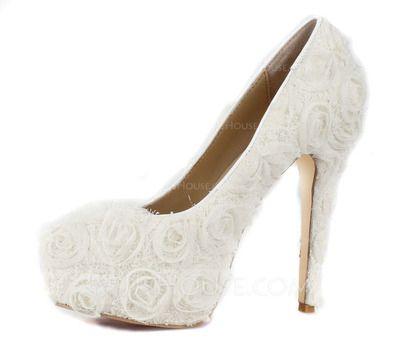 Chaussures de mariage - $65.99 - Femmes Dentelle Talon stiletto Bout fermé  Plateforme Escarpins avec Fleur