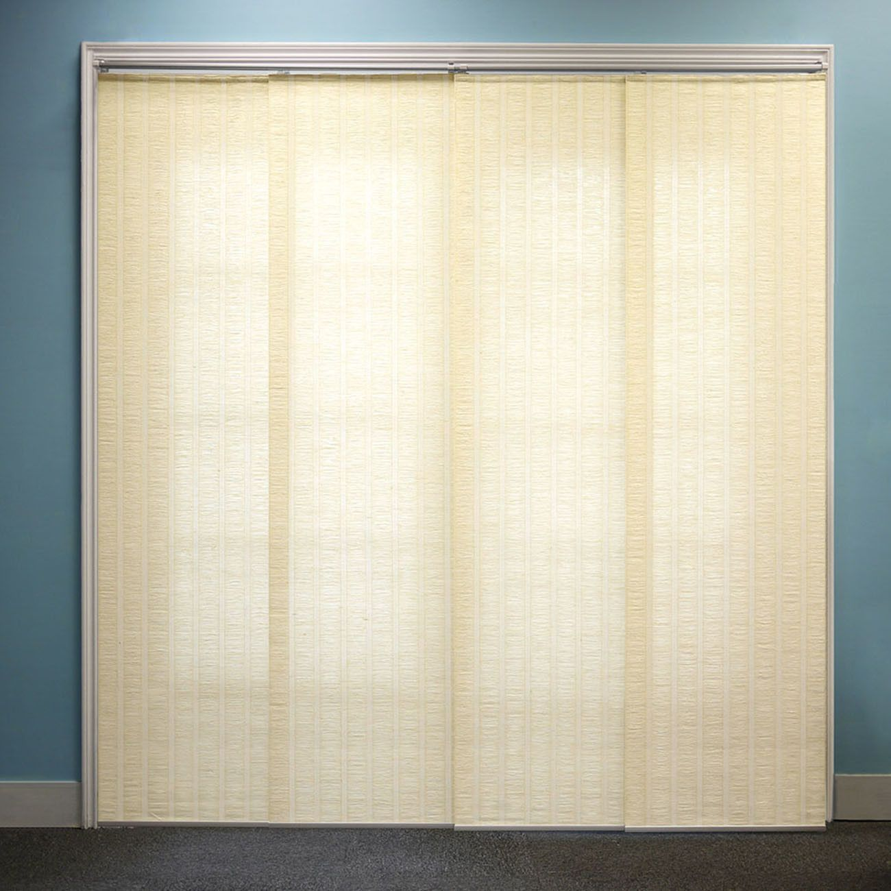 Features modern upgrade to vertical blinds to add beauty and