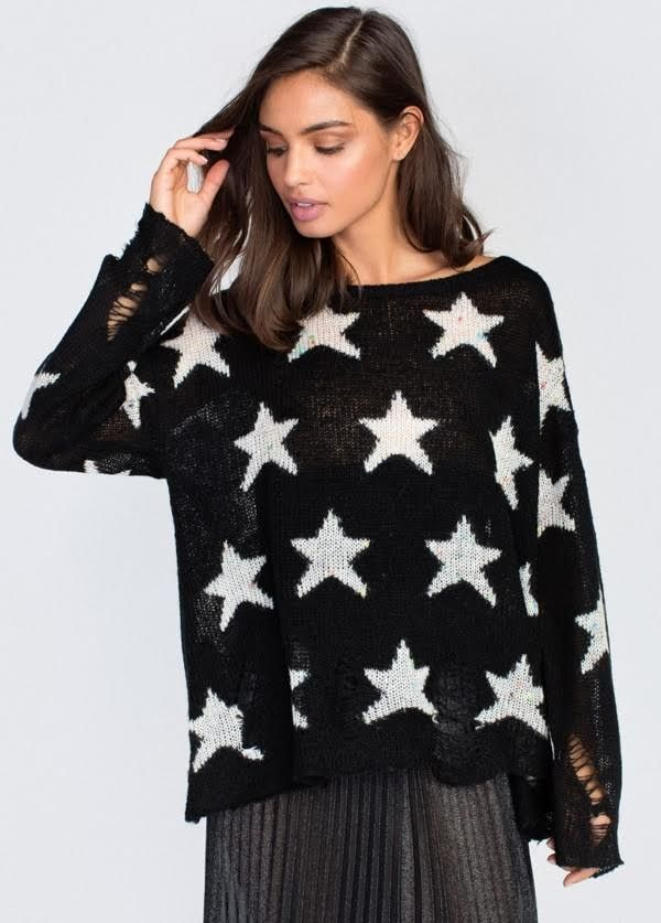 Wildfox Couture Funfetti Seeing Stars Lenon Sweater Black Style # WFS315F19 -Black color -Pullover, scoop or drop shoulder -Long sleeve -100% acrylic -Imported  Price: $190.00